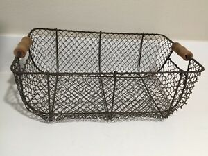 Antique Large French Wire Flower Vegetable Egg Basket