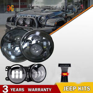 7 led Headlight Fog Light Turn Signal Tail Lamp Combo Kit 07 17 Jeep Wrangler Jk