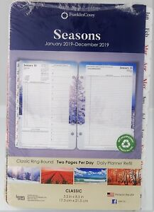 Franklin Covey Seasons 2019 Two Page Per Day Classic Ring bound Planner Refill