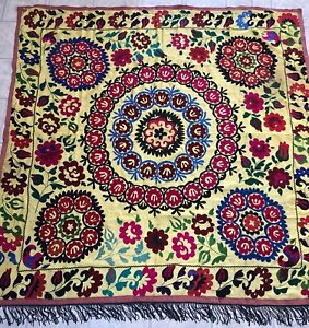Old Uzbek Vintage Wall Hanging Antique Hand Embroidered Tablecloth Silk Suzani