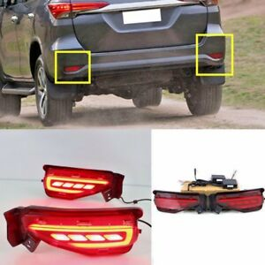 2pcs Led Rear Fog Light For Toyota Fortuner 2015 2016 Tail Bumper Warning Lights