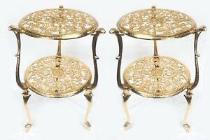 Pair Of Two Tire Brass Plant Stand Table Hand Made