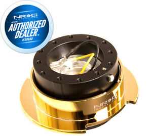 New Nrg Steering Wheel Gen 2 5 Quick Release Black Body Gold Ring Srk 250bk cg