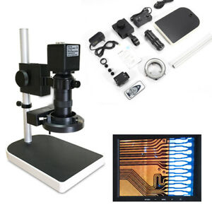 16mp 1080p Hdmi Digital Microscope Industry Camera 10 180x Zoom W Stand Set Usa
