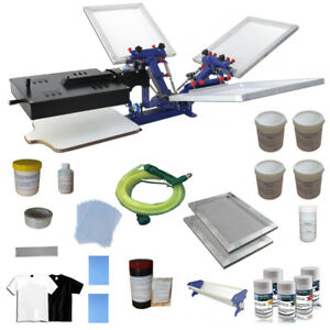 3 Color Screen Printing Kit Press Printer With Flah Dryer Silk Screen Ink Supply