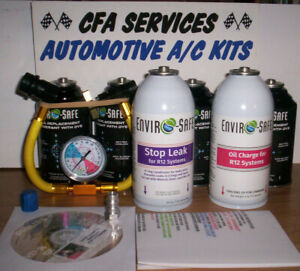 R12 Compatible Refrigerant 12a Oil stopleak 6 Can Recharge Kit 1994 older Cars