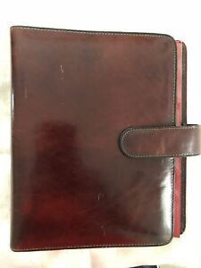 Bosca Hand Stained Hide Old Leather Planner Binder Agenda Portfolio Brwn Euc