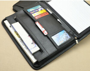 A4 Zipper Padfolio Leather Cover Folder Documents Planner Portfolio Bag Holder