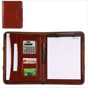 Portable A4 Clipboard Folder Multifunction Leather Organizer Brown Black Colors