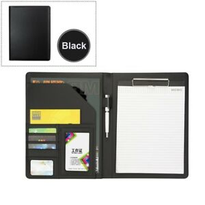 A4 Pu Leather Portfolio Conference Clipboard Holder Business School Writing Pad