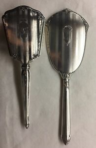 Antique Sterling Silver Vanity Hand Mirror And Hair Brush Set Art Deco Vintage