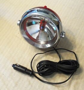 Vintage 1950 s 60 s Pathfinder Auto Lamp 12 Volt Chrome Work Light spotlight