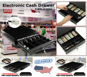 Electronic Cash Drawer Heavy Duty Lock Cash Tidy Register Pos 5 Bills 8 Coins