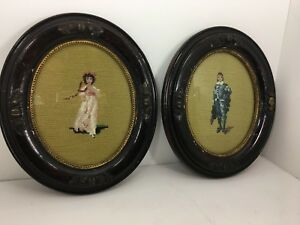 Pair Of Antique Victorian Girl And Boy Needlepoint Petit Point Carved Oval Frame