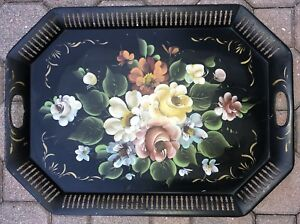 Large Antique 24 Toleware Tole Hand Painted Metal Tray Flowers