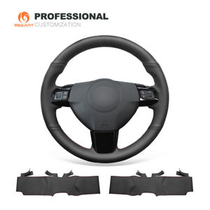 Top Black Genuine Leather Car Steering Wheel Cover For Opel Astra Vauxhall Astra