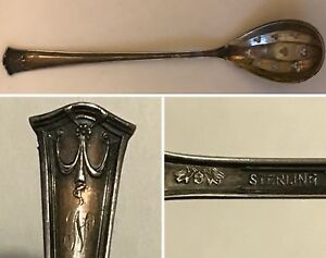 Antique Baker Manchester Sterling Silver Pierced Bowl Short Handle Olive Spoon
