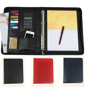 Zipper Pu Leather Portfolio A4 Document Folder Black Blue Red Padfolio Binder