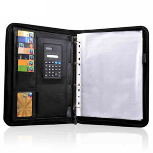 Leather Folder Organizer Document Business Padfolio File Holder With Calculator