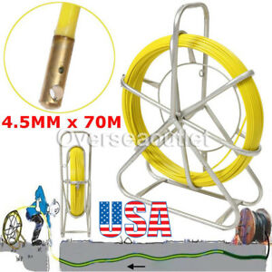 4 5mm 70m Fish Tape Fiberglass Wire Cable Running Rod Duct Rodder Puller