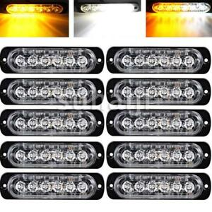 10pcs Amber White 6 Led Emergency Hazard Warning Flash Strobe Beacon Caution