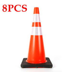 8pcs Traffic Cones 28 Slim Fluorescent Reflective Road Safety Parking Cones