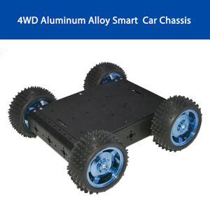 Black 4wd Aluminum Alloy Smart Robot Car Chassis For Arduino Battery Box Mini