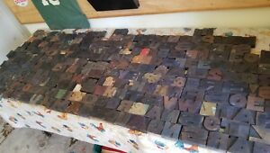 Vintage Letterpress Wood Printing Blocks Alphabet 250 Pcs Wooden Letters Old