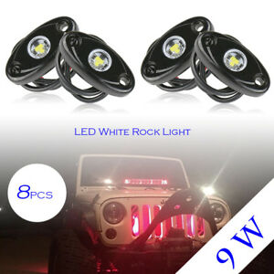 8pcs 9w Led Rock Light For Jeep Offroad Truck Under Body Trail Rig White Lamp