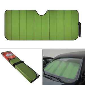 Green Window Car Sun Shades For Windshields Foldable Heat Uv Ray Protection