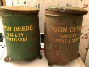 2 Vintage John Deere Safety Fertilizer Hopper With Lids
