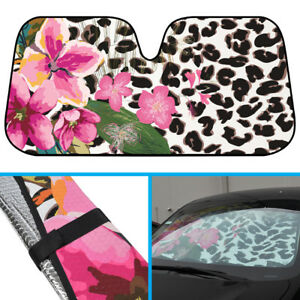 Leopard Flower Pattern Car Sun Shade Windshield Reflects Protects Uv Ray Heat