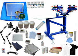 4 Color 1 Station Silk Screen Material Kit Screen Printing Press With Exposure