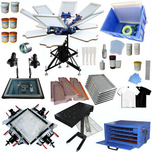 6 Color Screen Printing Equipment Kit Flash Dryer Exposure Stretcher Material