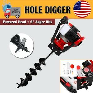 One Man 56cc Gas Power Earth Post Hole Auger Machine 6 Inch Soil Bit Ce