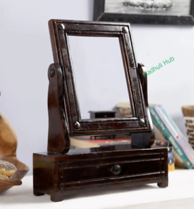 Vintage Look Hand Crafted Wooden Dressing Mirror Frame With Drawer Table Stand