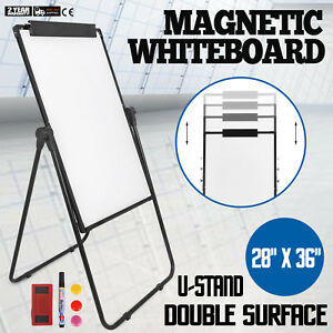 U stand Magnetic Dry Erase White Board Easel Height Adjustable Reversible