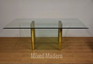 Pace Glass And Brass Dining Table Modern Leon Rosen