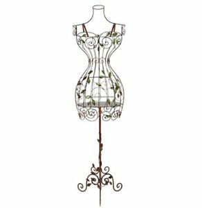 Vintage Dress Form Wire Display Mannequin Elegant Metal Scroll Torso With Stand