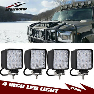 4x 4 Round Pods Spot Led Driving Fog Lights Offroad Work Lamp Fit Jeep Wrangler