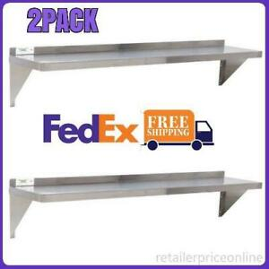 2 Pack 18 Gauge Stainless Steel 12 X 48 Solid Wall Shelf Us Fedex Shipping