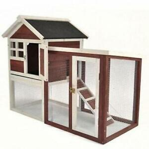 Chicken Poultry Coop Hen House Rabbit Bird Pet Hutch Cage Deluxe W Nesting Box
