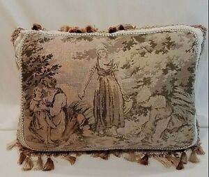 Pillow Antique Tapestry Belgian Peasant Women Child Gray Tan Pink Custom Made