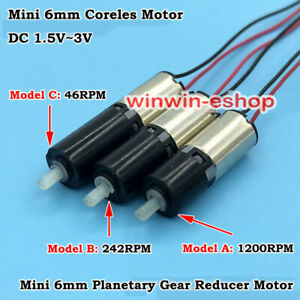 Micro Mini 6mm Gear Reducer Motor Dc 3v Planetary Gearbox Motor Coreless Motor