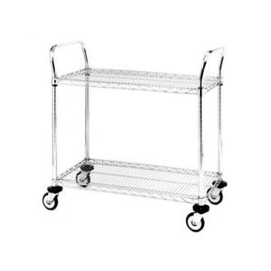 Metro Mw Series Stainless Steel Wire Utility Cart 2 Shelves 375 Lbs Cap