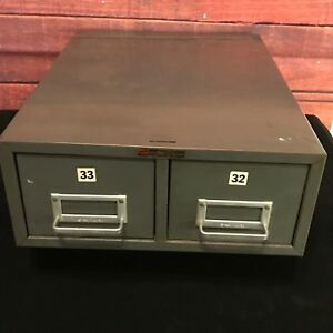 Vintage Steel 2 Drawer Card File Cabinet Gray Metal Shop Box Stackable Usa