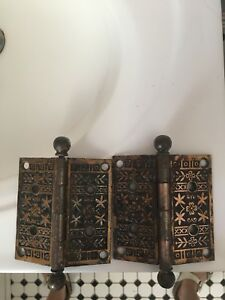 Vintage Cast Iron With Brass Plating Victorian Dior Hinges