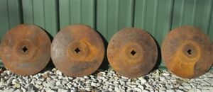 4 Plow Disc Blades Industrial Steampunk Farm International Vintage Cast Iron A24