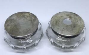 William Kerr Hammered Sterling Silver Crystal Vanity Set Powder Jar Circa 1915