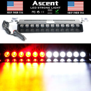 12 Led Red White Red Flash Warning Emergency Dash Lights Suction Cup Strobe Lamp
